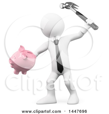 Clipart of a 3d White Business Man Breaking a Piggy Bank with a Hammer, on a White Background - Royalty Free Illustration by Texelart