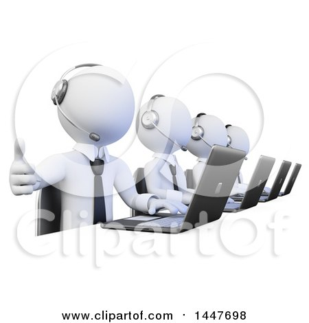Clipart of a 3d White Business Man Working in a Call Center, Giving a Thumb up and Using a Laptop, on a White Background - Royalty Free Illustration by Texelart
