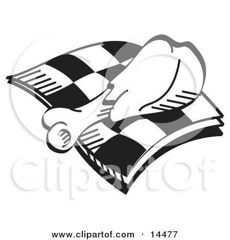 Tasty Chicken Drumstick on a Checkered Napkin Clipart Illustration by Andy Nortnik
