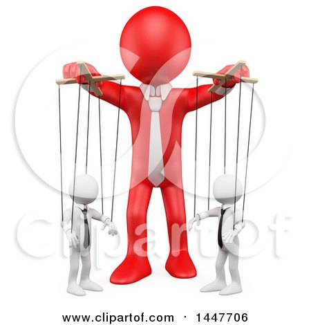 Clipart of a 3d White Business Man Puppeteer Handling Employees like Marionette Puppets, on a White Background - Royalty Free Illustration by Texelart