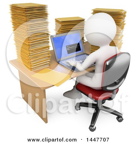 Clipart of a 3d White Business Man Working on a Laptop at a Desk Piled High with Folders, on a White Background - Royalty Free Illustration by Texelart