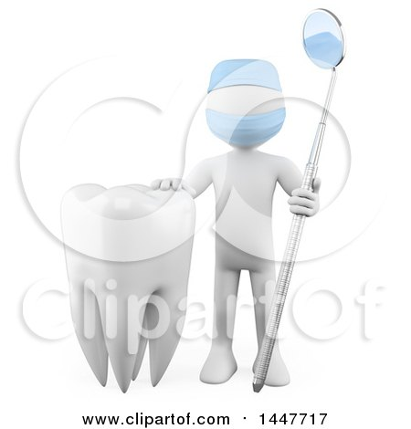 Clipart of a 3d White Man Dentist with a Dental Mirror Tool and a Tooth, on a White Background - Royalty Free Illustration by Texelart
