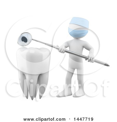 Clipart of a 3d White Man Dentist Holding a Mirror Tool over a Tooth, on a White Background - Royalty Free Illustration by Texelart