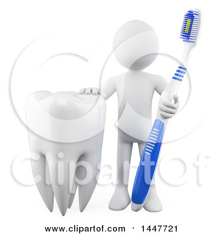 Clipart of a 3d White Man Dentist with a Giant Tooth and Brush, on a White Background - Royalty Free Illustration by Texelart