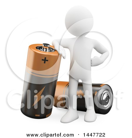 Clipart of a 3d White Man Leaning on a Giant Battery, on a White Background - Royalty Free Illustration by Texelart