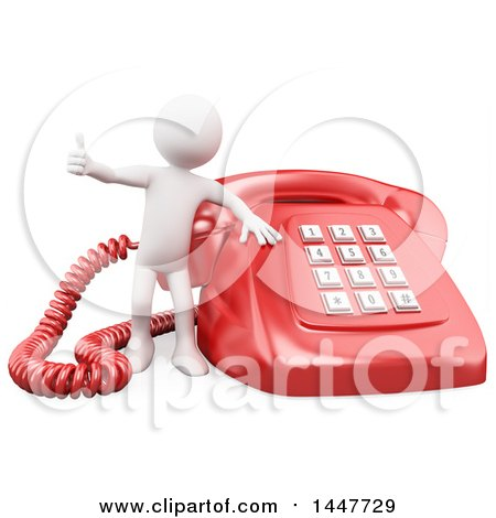 Clipart of a 3d White Man Giving a Thumb up by a Giant Landline Telephone, on a White Background - Royalty Free Illustration by Texelart
