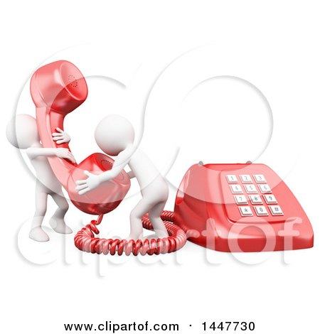 Clipart of a 3d Giant Red Landline Telephone and Two White People Answering a Call, on a White Background - Royalty Free Illustration by Texelart