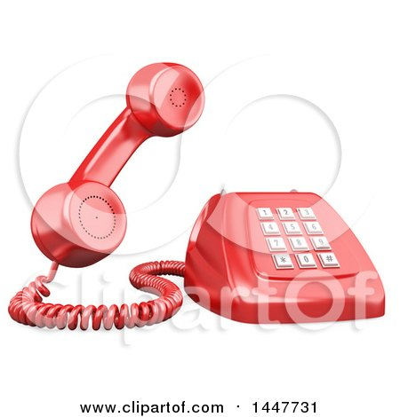 Clipart of a 3d Giant Red Landline Telephone, on a White Background - Royalty Free Illustration by Texelart