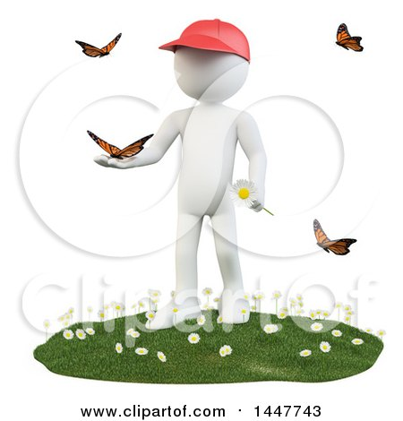 Clipart of a 3d White Man Holding a Flower and Playing with Butterflies on a Spring Day, on a White Background - Royalty Free Illustration by Texelart