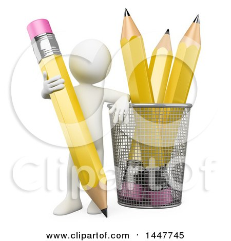 Clipart of a 3d White Man Leaning on a Cup with Giant Pencils, on a White Background - Royalty Free Illustration by Texelart