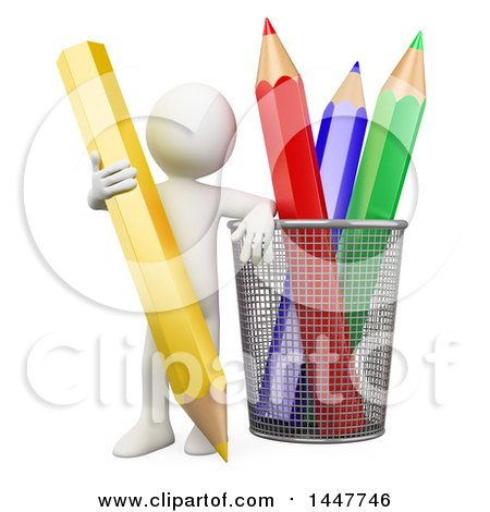 Clipart of a 3d White Man Leaning on a Cup with Giant Colored Pencils, on a White Background - Royalty Free Illustration by Texelart