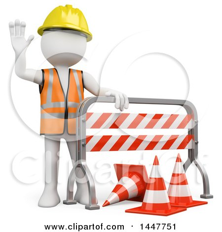 Clipart of a 3d White Man Construction Worker Waving Behind a Barrier, on a White Background - Royalty Free Illustration by Texelart