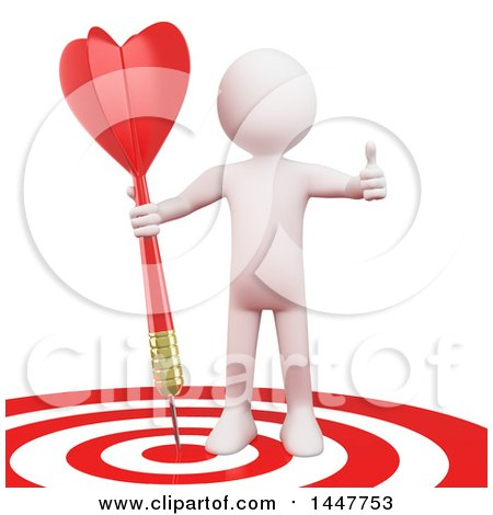 Clipart of a 3d White Man Giving a Thumb up and Standing with a Dart on a Bullseye Target, on a White Background - Royalty Free Illustration by Texelart