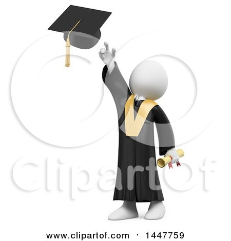 Clipart of a 3d White Man Graduate Tossing His Cap, on a White Background - Royalty Free Illustration by Texelart