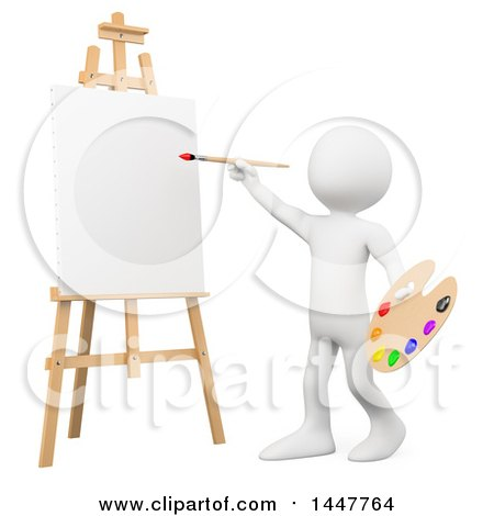 3d White Man Artist Ready to Paint a Canvas on an Easel, on a White Background Posters, Art Prints