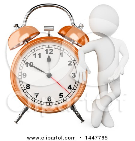 Clipart of a 3d White Man Presenting and Leaning on a Giant Alarm Clock, on a White Background - Royalty Free Illustration by Texelart