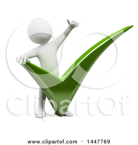 Clipart of a 3d White Man Giving a Thumb up over a Giant Check Mark, on a White Background - Royalty Free Illustration by Texelart