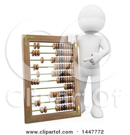 Clipart of a 3d White Man Pointing to and Leaning on a Giant Abacus, on a White Background - Royalty Free Illustration by Texelart