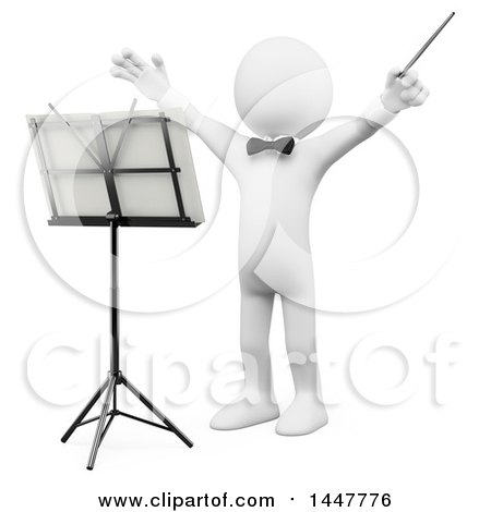Clipart of a 3d White Man Orchestra Conductor Holding His Arms Up, on a White Background - Royalty Free Illustration by Texelart