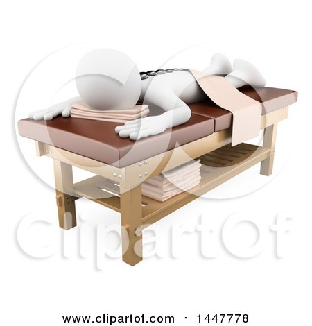 Clipart of a 3d White Person on a Hot Stone Massage Table, on a White Background - Royalty Free Illustration by Texelart