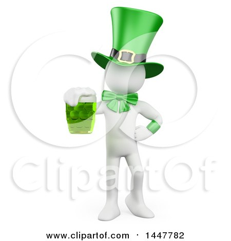 Clipart of a 3d White St Patricks Day Leprechaun Holding a Green Beer, on a White Background - Royalty Free Illustration by Texelart