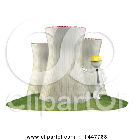 Clipart of a 3d White Man Technician Leaning Against a Nuclear Power Station, on a White Background - Royalty Free Illustration by Texelart