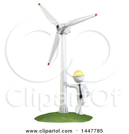 Clipart of a 3d White Man Technician Leaning Against a Wind Turbine, on a White Background - Royalty Free Illustration by Texelart