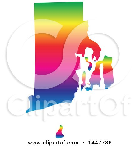 Clipart of a Gradient Rainbow Map of Rhode Island, United States of America - Royalty Free Vector Illustration by Jamers