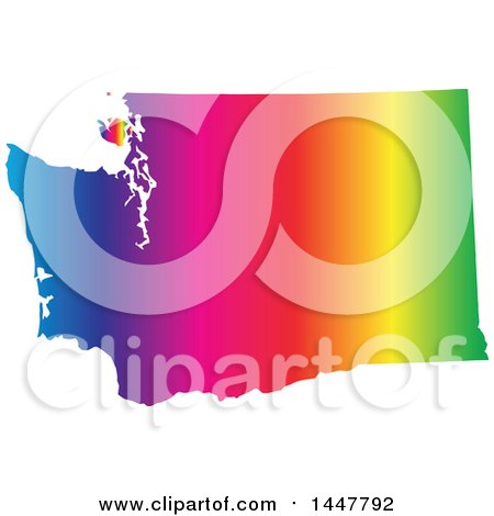 Clipart of a Gradient Rainbow Map of Washington, United States of America - Royalty Free Vector Illustration by Jamers