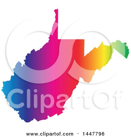 Clipart of a Gradient Rainbow Map of West Virginia, United States of America - Royalty Free Vector Illustration by Jamers