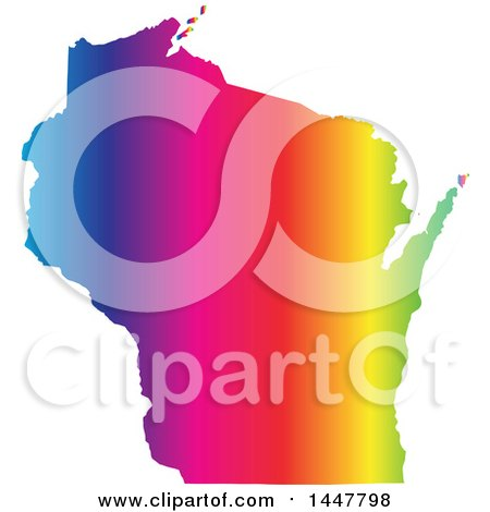 Clipart of a Gradient Rainbow Map of Wisconsin, United States of America - Royalty Free Vector Illustration by Jamers