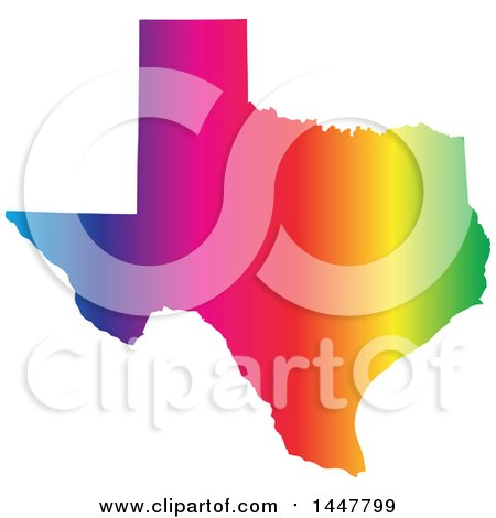 Clipart of a Gradient Rainbow Map of Texas, United States of America - Royalty Free Vector Illustration by Jamers