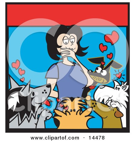 Woman Surrounded By Dogs In An Animal Shelter, Thinking Of Which One To Adopt  Posters, Art Prints