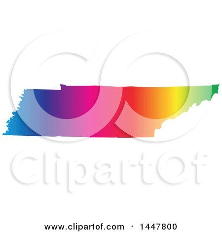 Clipart of a Gradient Rainbow Map of Tennessee, United States of America - Royalty Free Vector Illustration by Jamers