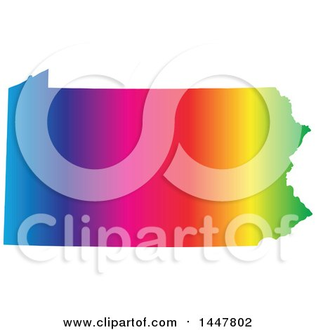 Clipart of a Gradient Rainbow Map of Pennsylvania, United States of America - Royalty Free Vector Illustration by Jamers