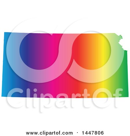 Clipart of a Gradient Rainbow Map of Kansas, United States of America - Royalty Free Vector Illustration by Jamers