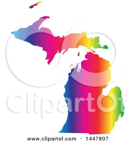 Clipart of a Gradient Rainbow Map of Michigan, United States of America - Royalty Free Vector Illustration by Jamers