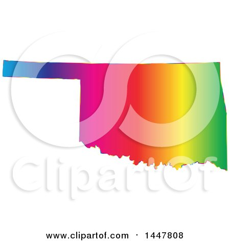 Clipart of a Gradient Rainbow Map of Oklahoma, United States of America - Royalty Free Vector Illustration by Jamers