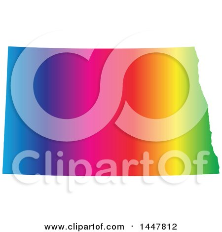 Clipart of a Gradient Rainbow Map of North Dakota, United States of America - Royalty Free Vector Illustration by Jamers