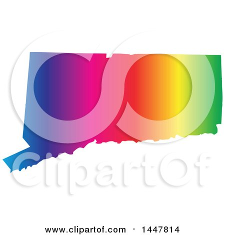 Clipart of a Gradient Rainbow Map of Connecticut, United States of America - Royalty Free Vector Illustration by Jamers