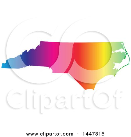 Clipart of a Gradient Rainbow Map of North Carolina, United States of America - Royalty Free Vector Illustration by Jamers