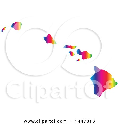 Clipart of a Gradient Rainbow Map of Hawaii, United States of America - Royalty Free Vector Illustration by Jamers
