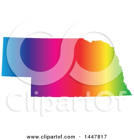 Clipart of a Gradient Rainbow Map of Nebraska, United States of America - Royalty Free Vector Illustration by Jamers