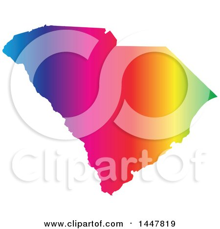 Clipart of a Gradient Rainbow Map of South Carolina, United States of America - Royalty Free Vector Illustration by Jamers