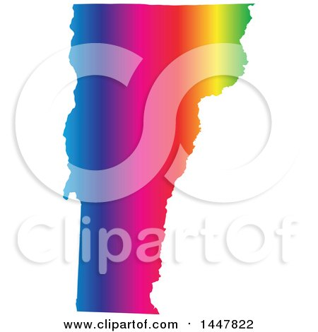Clipart of a Gradient Rainbow Map of Vermont, United States of America - Royalty Free Vector Illustration by Jamers