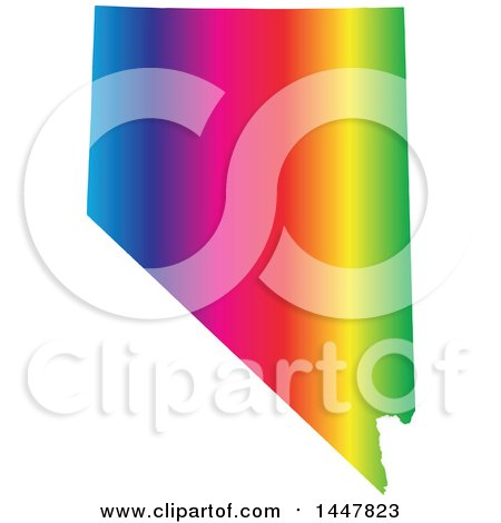 Clipart of a Gradient Rainbow Map of Nevada, United States of America - Royalty Free Vector Illustration by Jamers