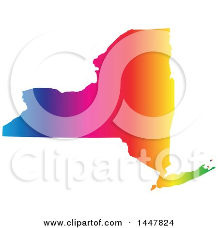 Clipart of a Gradient Rainbow Map of New York, United States of America - Royalty Free Vector Illustration by Jamers