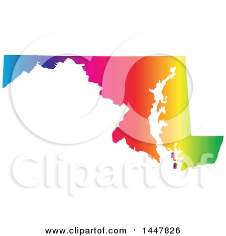Clipart of a Gradient Rainbow Map of Maryland, United States of America - Royalty Free Vector Illustration by Jamers