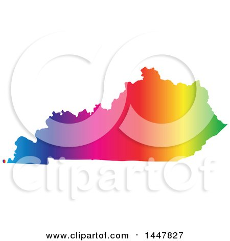 Clipart of a Gradient Rainbow Map of Kentucky, United States of America - Royalty Free Vector Illustration by Jamers