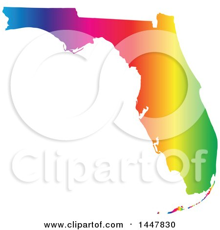 Clipart of a Gradient Rainbow Map of Florida, United States of America - Royalty Free Vector Illustration by Jamers